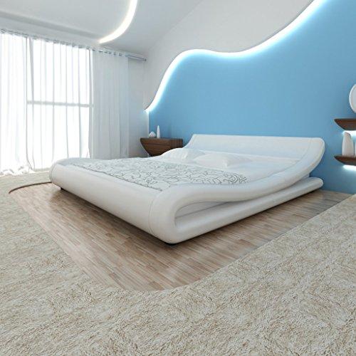 Festnight Bett Kunstlederbett Bettrahmen Doppelbett Schlafzimmerbett mit 140x200cm Memory-Matratze Curl Weiß