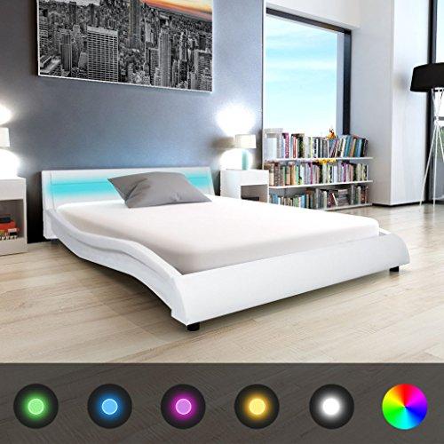 festnight bett kunstlederpolsterung bettrahmen doppelbett. Black Bedroom Furniture Sets. Home Design Ideas