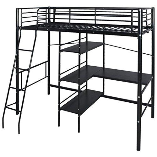Festnight Hochbett mit Schreibtisch Regal Metallrahmen Funktionsbett Kinderzimmer Jugendbett für Matratzengröße 200x90cm - Schwarz