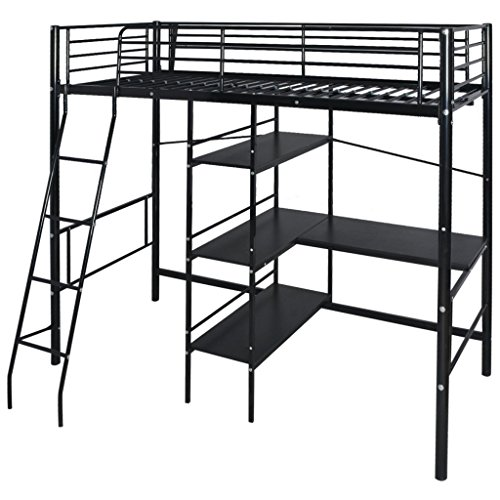 festnight hochbett mit schreibtisch regal metallrahmen funktionsbett kinderzimmer jugendbett f r. Black Bedroom Furniture Sets. Home Design Ideas