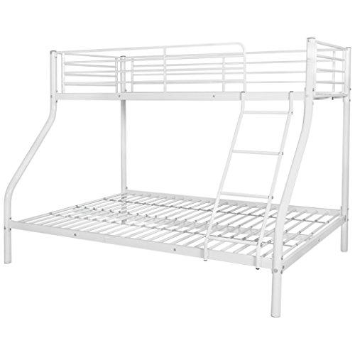 Festnight Kinder Etagenbett Doppelstockbett Metall Bettrahmen Kinderbett Metallbett mit 2 Betten Geeignet für Matratzengröße 200x90 / 200x140cm - Weiß