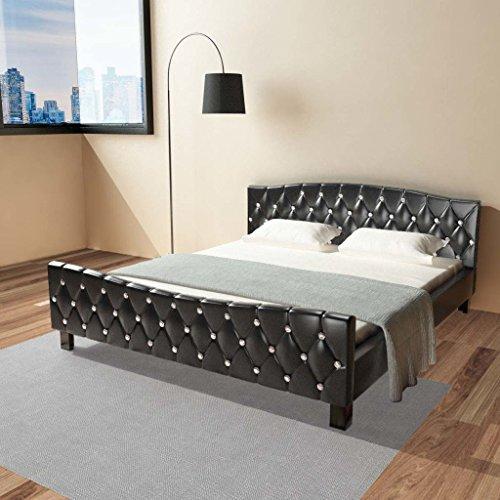 Festnight Polsterbett Bett Doppelbett Ehebett aus Kunstleder mit Matratze 180x200cm Schwarz