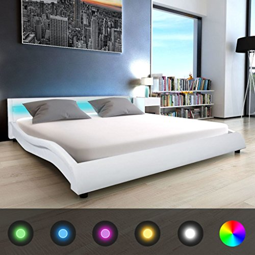 Festnight Polsterbett Bett Doppelbett Ehebett mit LED und Matratze 180x200 cm Kunstleder Weiß