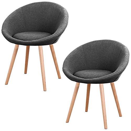 MCTECH® 2x Stuhl Esszimmerstühle Esszimmerstuhl Stuhlgruppe Konferenzstuhl Küchenstuhl Armlehne Büro mit Buchenholz Eiche Bein (Type F, Grau)