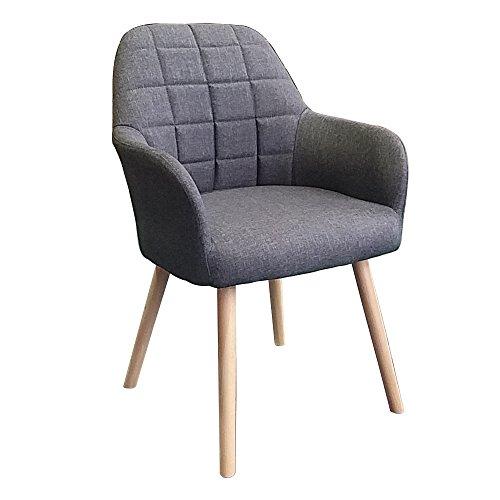 MCTECH® 2x Stuhl Esszimmerstühle Esszimmerstuhl Stuhlgruppe Konferenzstuhl Küchenstuhl Armlehne Büro mit Buchenholz Eiche Bein (Type H, Grau)