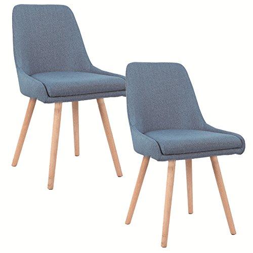 SAILUN® 2 x Esszimmerstuhl Wohnzimmerstuhl Bürostuhl Küchenstuhl, Gepolstert mit Massivholz Eiche Bein (E Type, Blau)