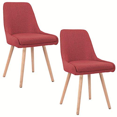 SAILUN® 2 x Esszimmerstuhl Wohnzimmerstuhl Bürostuhl Küchenstuhl, Gepolstert mit Massivholz Eiche Bein (E Type, Rot)