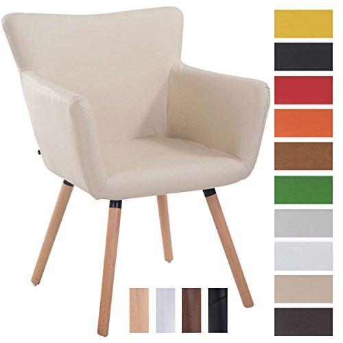 CLP Esszimmerstuhl ANTWERPEN mit hochwertiger Polsterung und Kunstlederbezug | Konferenzstuhl mit Holzgestell und Bodenschonern | Polsterstuhl mit einer maximalen Belastbarkeit von 160 kg und einer Sitzhöhe von 46 cm | Freie Farbwahl Creme, Gestellfarbe: Natura