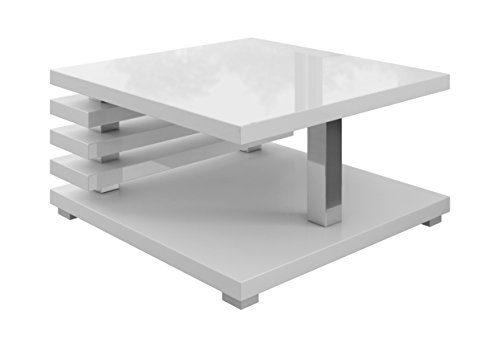 E-com Oslo Couchtisch, 60 x 60 cm, Weiß hochglanz