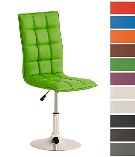CLP Esszimmerstuhl PEKING mit hochwertiger Polsterung und Kunstlederbezug | Moderner Loungesessel mit Metallgestell in Chrom-Optik | Höhenverstellbarer Polsterstuhl mit drehbarer Sitzfläche | In verschiedenen Farben erhältlich Grün