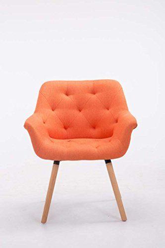 CLP Esszimmerstuhl CASSIDY mit Stoffbezug und sesselförmigem gepolstertem Sitz | Retrostuhl mit Armlehne und einer Sitzhöhe von 45 cm | In verschiedenen Farben erhältlich Orange, Gestellfarbe: Natura