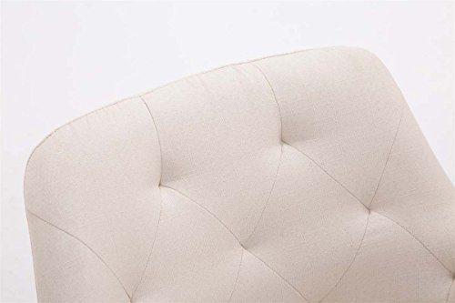 CLP Esszimmerstuhl CASSIDY mit Stoffbezug und sesselförmigem gepolstertem Sitz | Retrostuhl mit Armlehne und einer Sitzhöhe von 45 cm | In verschiedenen Farben erhältlich Creme, Gestellfarbe: Natura