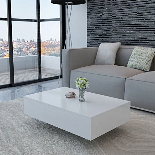 lingjiushopping Tisch Caff ¨ ¨ glänzend weiß Farbe: weiß Material: MDF Hochglanz