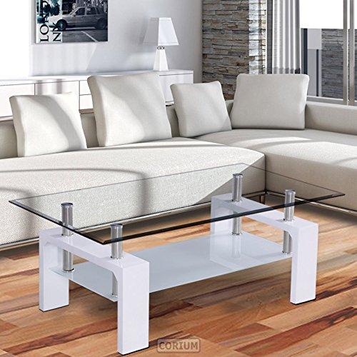 Corium Couchtisch - Wohnzimmertisch 100 x 50 x 58 cm Glassplatte Weiss Tisch / Glastisch / Beistelltisch / Wohnzimmer / Hochglanz