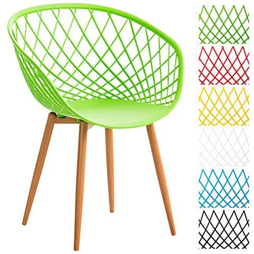 CLP Esszimmerstuhl MORA mit pflegeleichter Kunststoff-Sitzschale | Retrostuhl mit Lehne und einem Metallgestell in Holzoptik | Besucherstuhl mit Bodenschonern und einer Sitzhöhe von 46 cm Grün