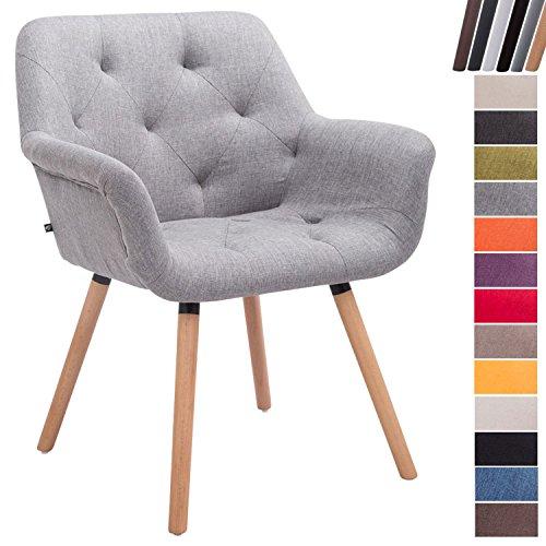CLP Esszimmerstuhl CASSIDY mit Stoffbezug und sesselförmigem gepolstertem Sitz | Retrostuhl mit Armlehne und einer Sitzhöhe von 45 cm | In verschiedenen Farben erhältlich Grau, Gestellfarbe: Natura (Eiche)
