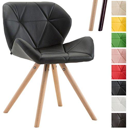 CLP Design Retrostuhl TYLER mit hochwertiger Polsterung und Kunstlederbezug | Esszimmerstuhl mit stabilem Buchenholzgestell (rund) und einer Sitzhöhe von 42 cm Schwarz, Gestellfarbe: Natura