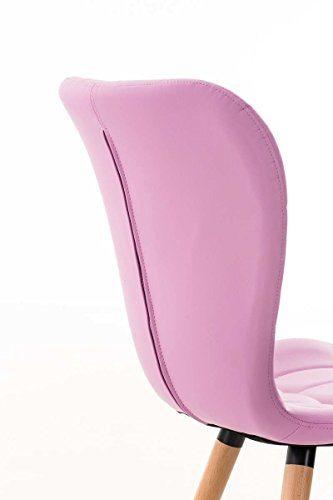 CLP Esszimmerstuhl ELDA mit hochwertiger Polsterung und Kunstlederbezug | Lehnstuhl mit robustem Holzgestell | Polsterstuhl mit stilvollen Ziernähten | In verschiedenen Farben erhältlich Pink