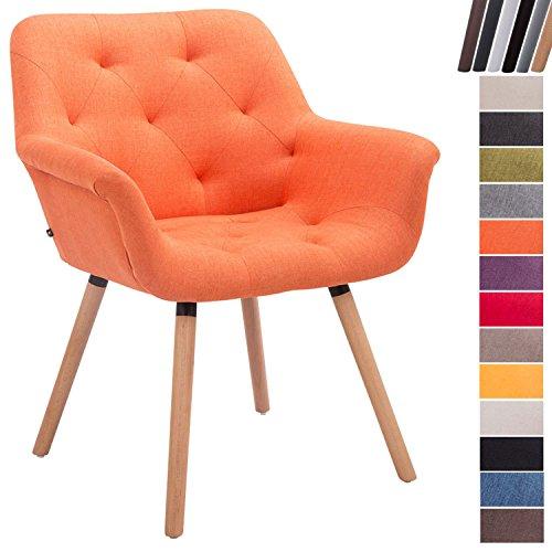 CLP Esszimmerstuhl CASSIDY mit Stoffbezug und sesselförmigem gepolstertem Sitz | Retrostuhl mit Armlehne und einer Sitzhöhe von 45 cm | In verschiedenen Farben erhältlich Orange, Gestellfarbe: Natura (Eiche)
