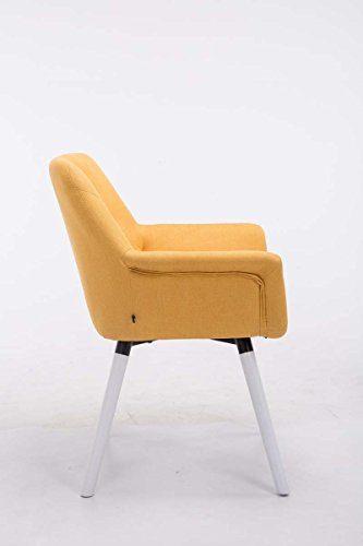 CLP Esszimmerstuhl CASSIDY mit Stoffbezug und sesselförmigem gepolstertem Sitz | Retrostuhl mit Armlehne und einer Sitzhöhe von 45 cm | In verschiedenen Farben erhältlich Gelb, Gestellfarbe: Weiß