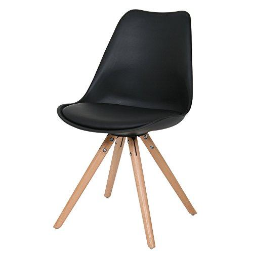 BUTIK FL20351-2 Esszimmerstuhl Woody 2-er Set, Höhe x Breite x Tiefe: 83 x 48 x 39 cm, schwarz/holz
