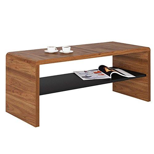 CARO-Möbel TV Lowboard Couchtisch Fernsehtisch Lenni, in Nussbaum, mit Ablagefach in Schwarz, 100 x 40 x 40 cm