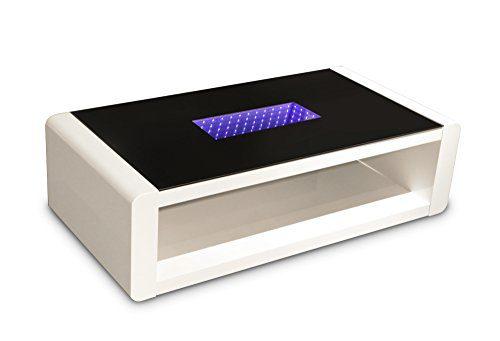 CAVADORE Couchtisch, Holz, Hochglanz weiß/Glas schwarz, 60 x 120 x 35 cm