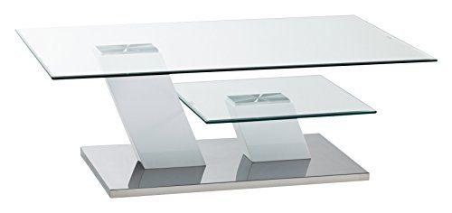 CAVADORE Couchtisch MILTON / moderner Couchtisch in Hochglanz weiß mit Glaspaltten auf 2 Ebenen / 115 x 75 x 40 cm (LxBxH)