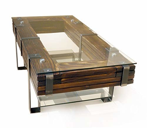 CHYRKA® Couchtisch Wohnzimmertisch LEMBERG Loft Vintage Bar IndustrieDesign Handmade Holz Glas Metall (120x60 cm)
