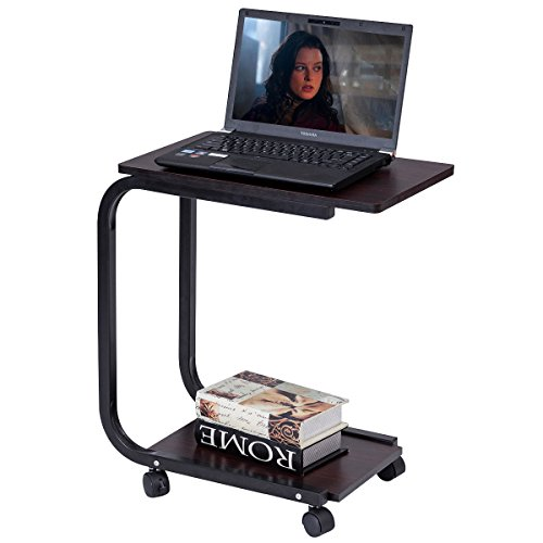 COSTWAY Laptoptisch Notebooktisch Stehtisch Pflegetisch Couchtisch Beistelltisch Rolltisch mit Rollen