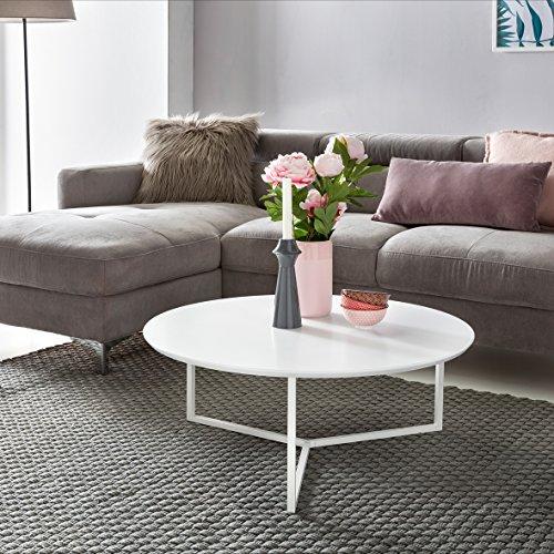 FineBuy Design Couchtisch White 80 cm Rund Weiß Matt lackiert | Moderner Wohnzimmertisch MDF Holz | Lounge Sofa Tisch Metall Gestell