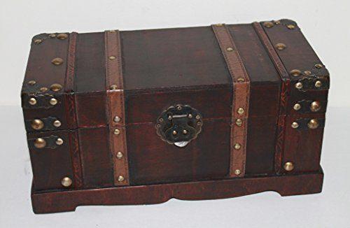 Holztruhe Schatzkiste Nr. 274, Antikdesign im Kolonial Stil, ca. 37 x 17 x 14 cm