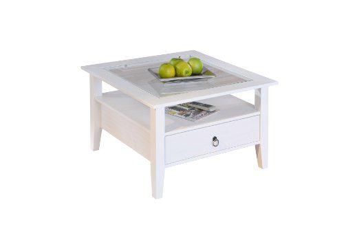 Inter Link Maritim Style Ille 1 20901510 Couchtisch Wohnzimmertisch Tisch Wohnzimmer Glastisch Kiefer massiv weiß NEU