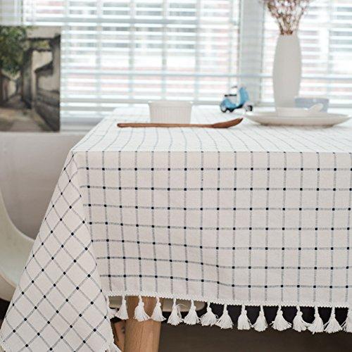 Meiosuns Tischdecke Tischdecke Stoff Weiß und Blau Karierte Tischdecken im mediterranen Stil Frische und kunstvolle Tischdecken aus Baumwolle und Quasten Rechteckige Couchtisch Tischdecken Staubdichte Tischdecken (140 *220cm)