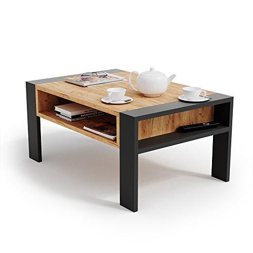 Vicco Couchtisch AITOR - Wohnzimmer Sofatisch Kaffeetisch 3 Farbvarianten Beistelltisch 90 x 60 cm - mit Ablagefach - Top Design (Anthrazit Sandeiche)