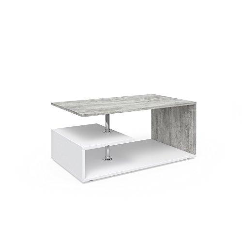 Vicco Couchtisch Guillermo 90 x 50 cm - Wohnzimmertisch Beistelltisch Holztisch Kaffeetisch - 4 Farben zur Auswahl (weiß Beton)