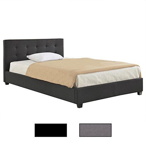CARO-Möbel Polsterbett Doppelbett Claire 140 x 200 cm grau oder schwarz, inklusive Lattenrost, mit Stoffbezug
